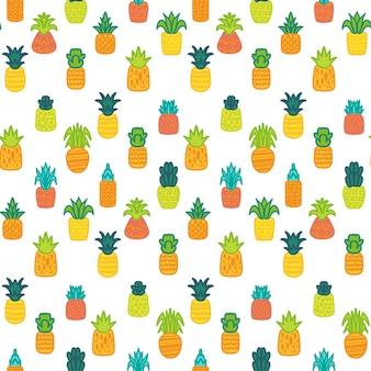 파인애플 벡터 손으로 그려진된 완벽 한 패턴입니다. 흰색 바탕에 열대, 이국적인 과일