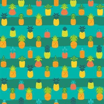 파인애플 벡터 완벽 한 패턴입니다. 줄무늬 배경에 여름 과일입니다. 열대 벽지 디자인