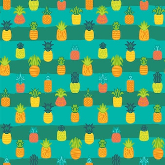 Pineapples vector seamless pattern. summer fruit on striped background. tropical wallpaper design