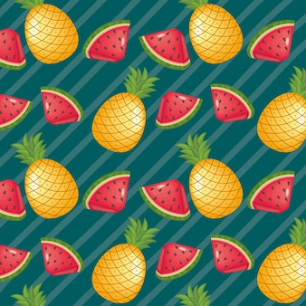 Pineapples and watermelons fruits on striped background