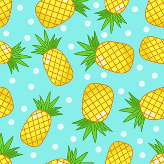 Pineapples with blue and dots background seamless pattern.