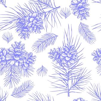 Pinecone pattern seamless, hand drawing