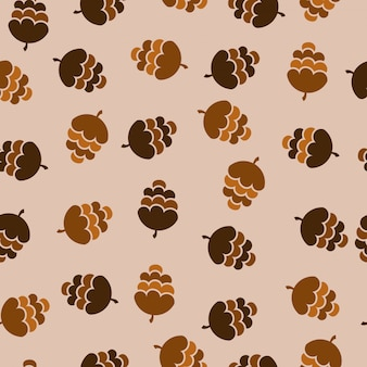 Pinecone winter collection seamless pattern
