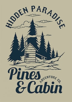Pines and cabin vector illustration