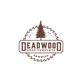 Pines evergreen conifer tree with circular saw blade retro logo template