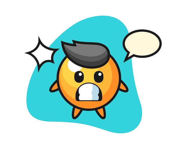 Ping pong ball cartoon with shocked gesture