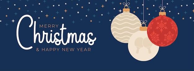 Пинг-понг рождественская открытка. веселого рождества и счастливого нового года плоский мультфильм спортивный баннер. мяч для настольного тенниса как рождественский мяч на фоне. векторная иллюстрация.