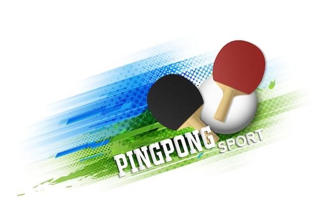 Шаблон плаката турнира турнира по настольному теннису или векторный дизайн баннера. Premium векторы