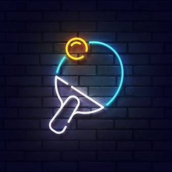 Пинг-понг неоновая вывеска. светящийся неоновый свет вывески настольного тенниса. знак пинг-понга с красочными неоновыми огнями, изолированных на кирпичной стене.