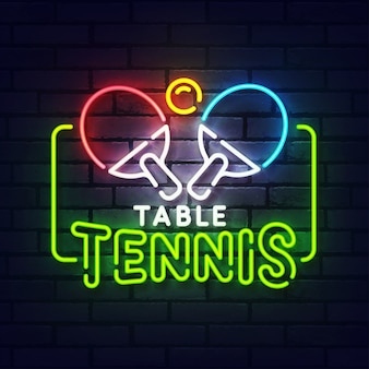 Ping pong neon sign. glowing neon light signboard of table tennis. sign of ping pong with colorful neon lights isolated on brick wall.