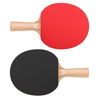 Racchette da ping pong, racchette da ping pong vista dall'alto e dal basso. attrezzature sportive con manico in legno e superficie in gomma pipistrello rosso e nero isolato su sfondo bianco, illustrazione realistica di vettore 3d
