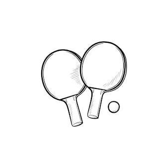 Ракетки для пинг-понга и мяч рисованной наброски каракули значок. соревнования по настольному теннису, концепция игры в пинг-понг. векторная иллюстрация эскиз для печати, интернета, мобильных устройств и инфографики на белом фоне.