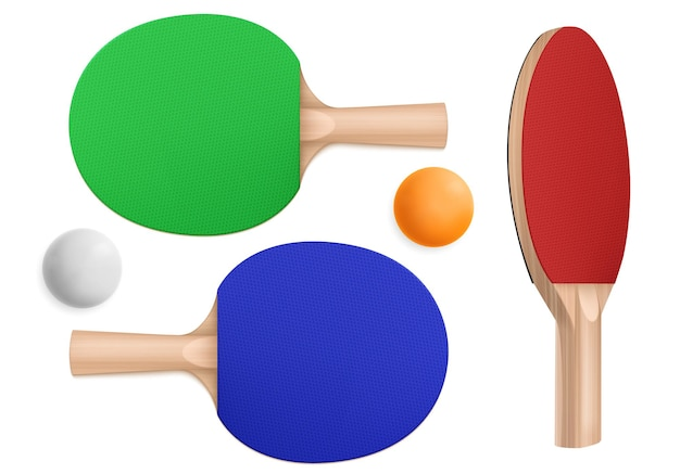 Ping pong rackets and balls, table tennis equipment in top and perspective