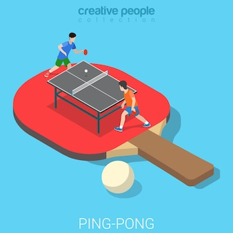 Ping-pong table tennis flat isometric sports