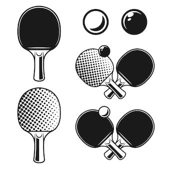 Пинг-понг, настольный теннис набор векторных монохромных объектов или элементов дизайна, изолированные на белом фоне