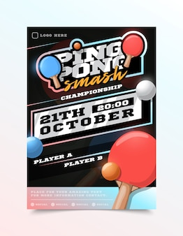 Ping pong or table tennis sport flyer