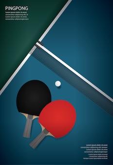 Pingpong плакат шаблон векторные иллюстрации