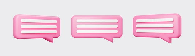 Pink 3d bubble talks set isolated on gray background. glossy pink speech bubbles, dialogue, messenger shapes. 3d render vector icons for social media or website