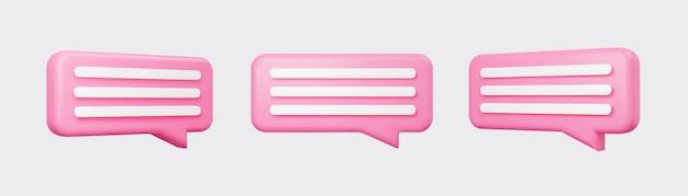 분홍색 3d 거품 회담은 회색 배경에 격리되어 있습니다. 광택 있는 분홍색 연설 거품, 대화, 메신저 모양. 소셜 미디어 또는 웹사이트를 위한 3d 렌더링 벡터 아이콘