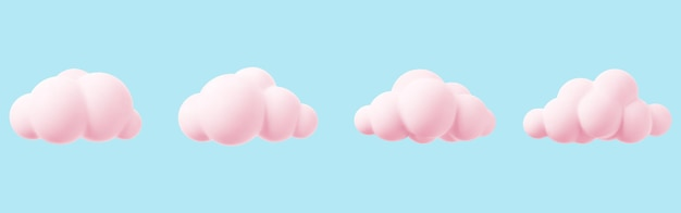 Pink 3d cloud isolated on a blue background render magic sunset cloud icon in the blue sky