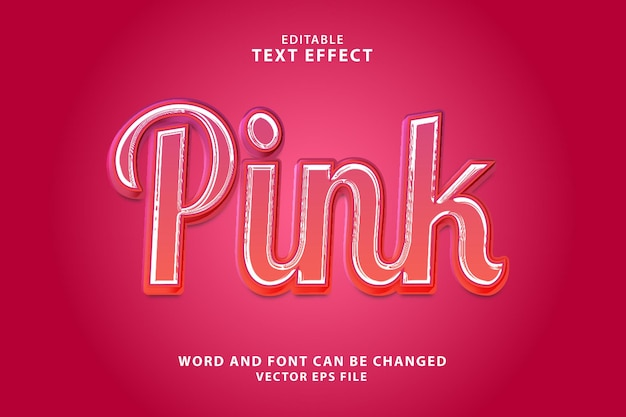 Розовый 3d редактируемый текстовый эффект eps