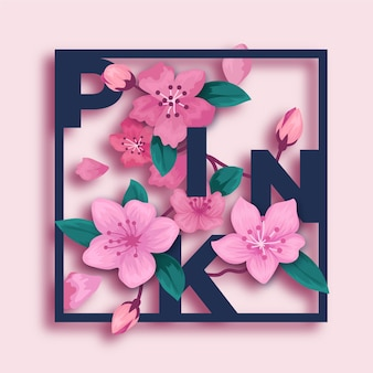 Pink 3d flowers in paper style with lettering