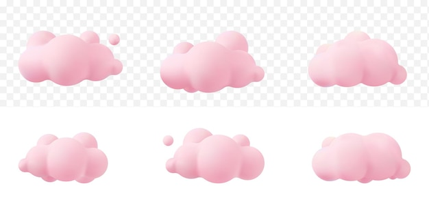 Pink 3d realistic clouds set isolated on a tranparent background. render soft round cartoon fluffy clouds icon in the  sky. 3d geometric shapes vector illustration