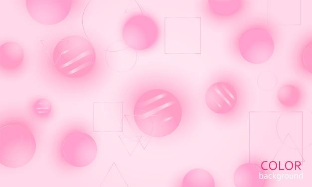 ピンクの抽象的な背景。ピンクのボール。