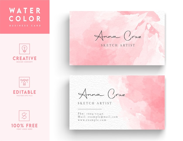 Pink abstract business card design template