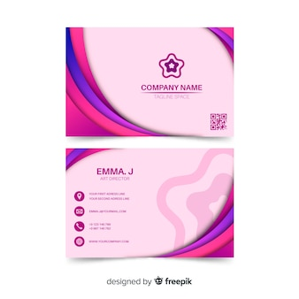 Pink abstract business card template