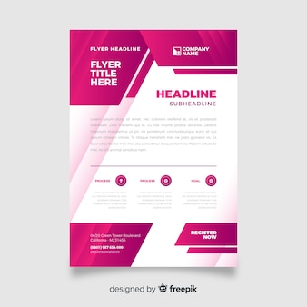 Pink abstract business flyer template