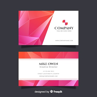 Pink abstract geometric business card