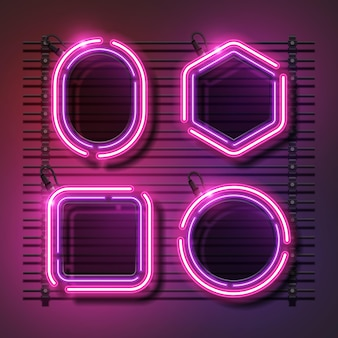 Pink abstract neon banner set