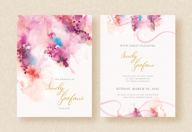 Pink abstract splash watercolor on wedding invitation