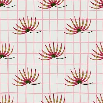 Pink abstract tropic bush ornament seamless pattern
