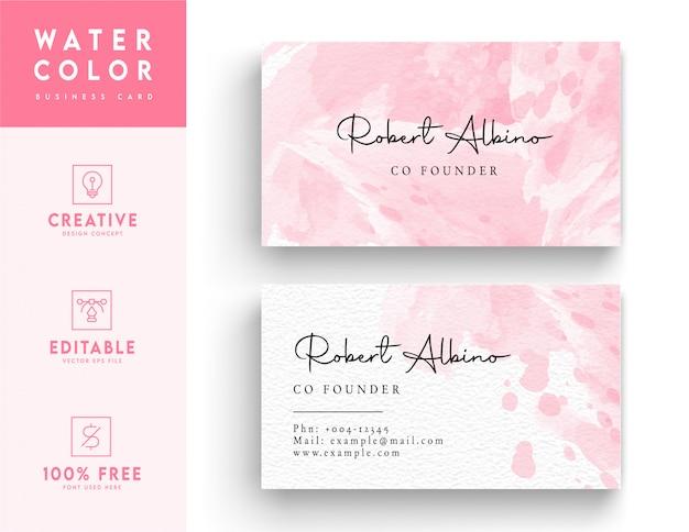ピンクの抽象的な水彩画名刺