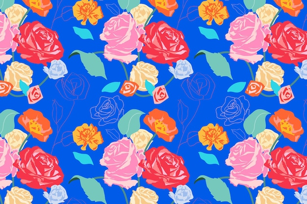 Pink aesthetic floral pattern  with roses blue background