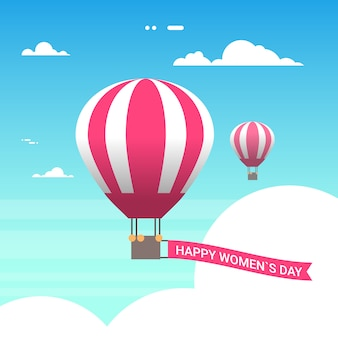 Pink air balloon in sky with happy women day 8 march greeting card in retro style