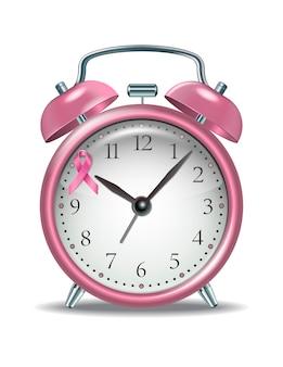 時計の文字盤にピンクのリボンが付いたピンクの目覚まし時計。乳がんの意識と社会的支援の概念。乳がんと闘う世界の月の象徴。