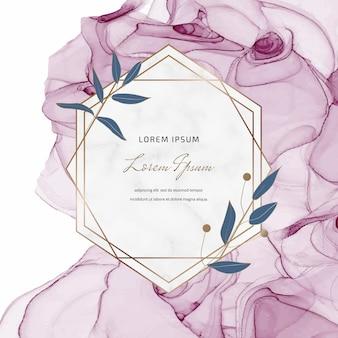 Розовый алкоголь чернила баннер с геометрическими мраморными рамками и листьями.
