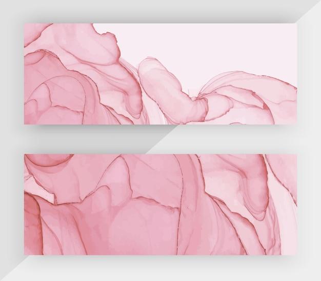 Розовые спиртовые чернила текстуры горизонтальные баннеры.