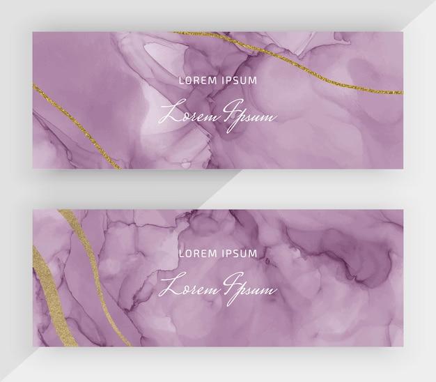 Розовые спиртовые чернила с золотым блеском горизонтальные баннеры для социальных сетей