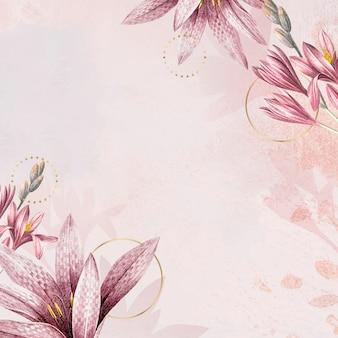 Pink amaryllis pattern background vector