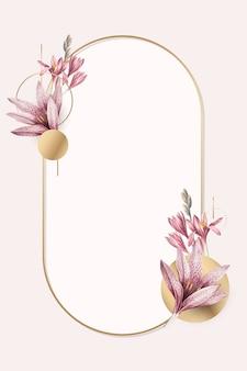 Pink amaryllis pattern with gold frame