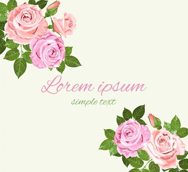 明るい緑の背景の挨拶にピンクとベージュのバラ