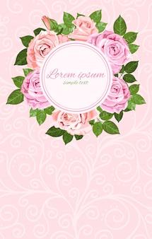 ピンクとベージュのバラの花輪ラウンドフレーム