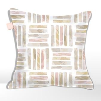 ピンクとベージュの水彩画の縞模様のシームレスなパターンの正方形のタイル
