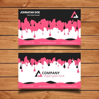 Pink and black dripping paint business card