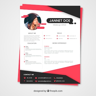 Pink and black resume template