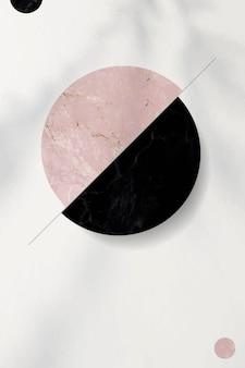 ピンクと黒のツートンカラーの円模様の背景